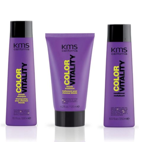 Kms california Kit6 Colorvitality Blonde Shampoo 300ml Conditioner 250ml Blonde treatment 125ml