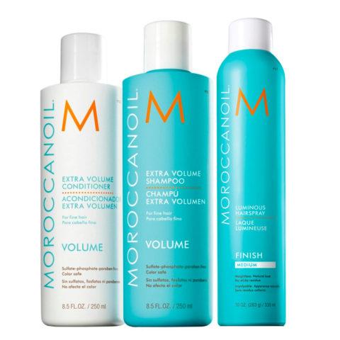 Moroccanoil Kit3 Extra volume shampoo 250ml Extra volume conditioner 250ml Luminous hairspray 330ml