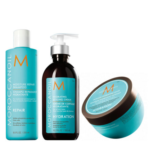 Moroccanoil Kit10 Moisture repair shampoo 250ml Hydrating styling cream 300ml Intense hydrating mask 250ml