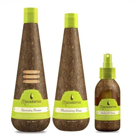 Macadamia Kit1: Rejuvenating Shampoo, Moisturizing Rinse, Healing Spray Oil