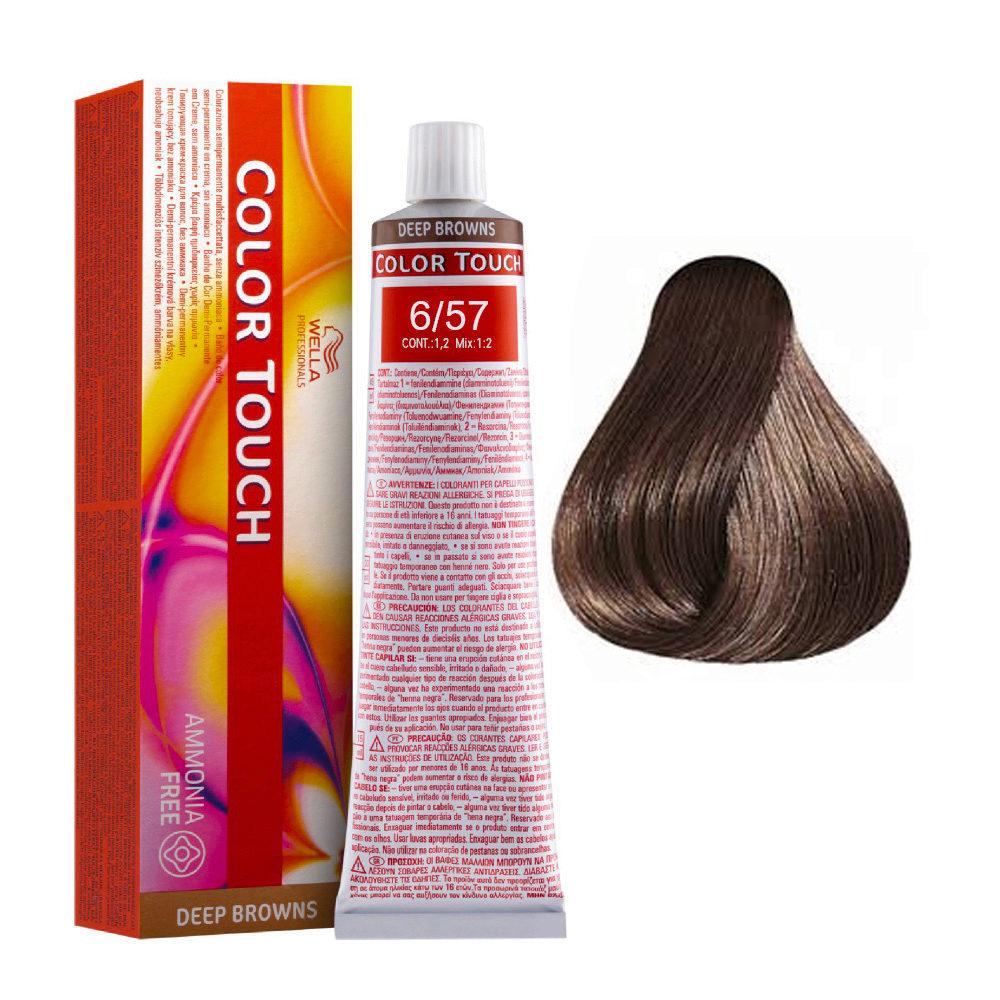 6/57 Rubio oscuro caoba marrón Wella Color Touch Vibrant Reds sin amoníaco 60ml