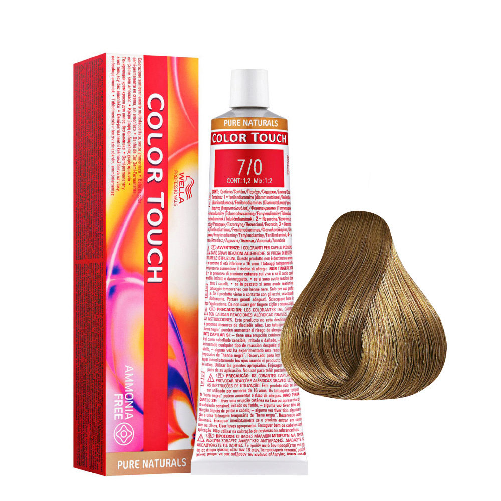 7/0 Rubio Intenso Mediano Wella Color Touch Pure Naturals sin amoníaco 60ml