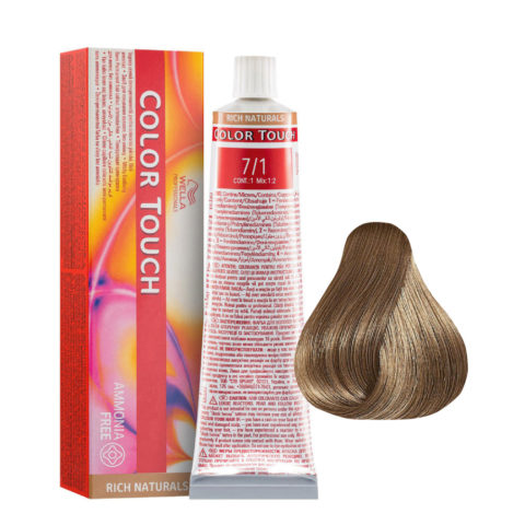 7/1 Rubio Mediano Ceniza Wella Color Touch Rich Naturals sin amoníaco 60ml