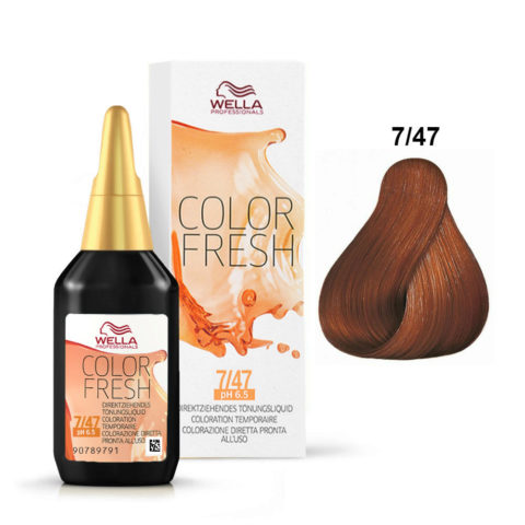 7/47 Rubio medio cobrizo arena Wella Color fresh 75ml