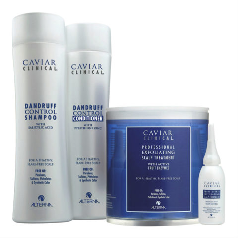 Alterna Caviar Clinical Dandruff control Kit: Shampoo 250ml Conditioner 250ml Scalp Treatment 12 x 15ml