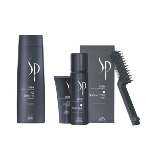 Wella SP Men Kit Sensitive Shampoo 250ml Gradual Tone Negro 60ml