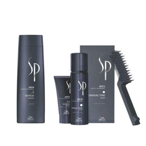 Wella System Professional Men Kit Refresh Shampoo 250ml  Gradual Tone Negro 60ml
