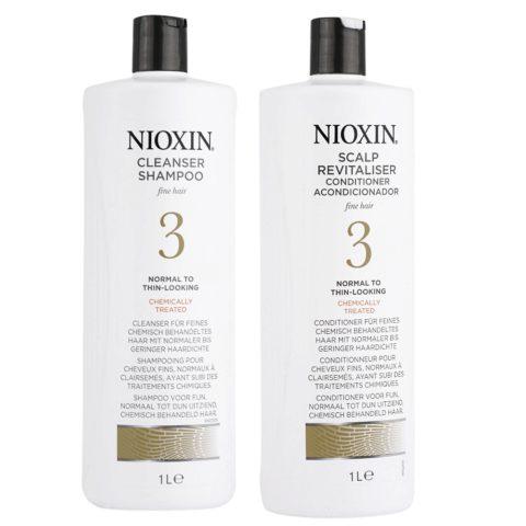 Nioxin Sistema3 Kit Shampoo Cleanser 1000ml e Conditioner 1000ml