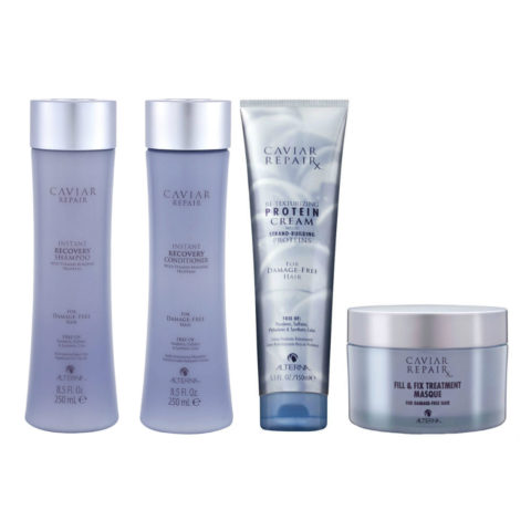 Alterna Caviar Repair Kit3 Instant recovery shampoo 250ml Conditioner 250ml ReTexturizing Protein cream 150ml Fill &