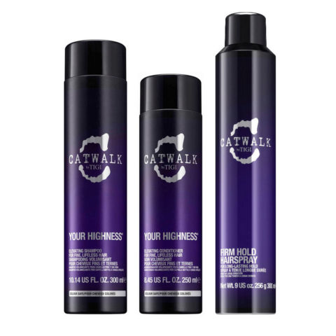 Tigi CatWalk Your Higness Kit Elevating Shampoo 300ml Elevating Conditioner 250ml Firm Hold Hairspray 300ml
