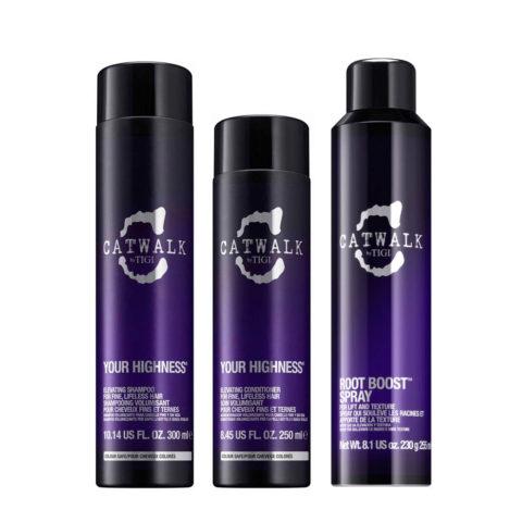 Tigi CatWalk Your Highness Kit Elevating Shampoo 300ml Elevating Conditioner 250ml Root Boost Spray 250ml