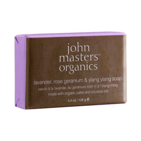 John Masters Organics Lavender, Rose Geranium & Ylang Ylang Soap 128gr - Jabón de Lavanda