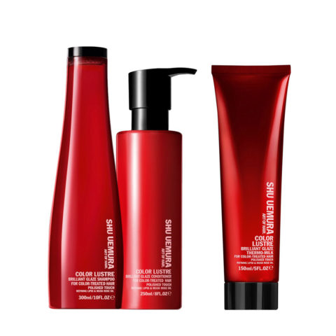 Shu Uemura Color Lustre Kit Champú 300ml Acondicionador 250ml Leche Térmica 150ml