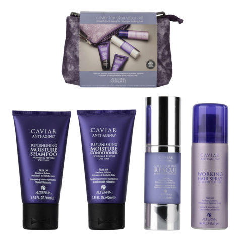 Alterna Caviar Anti aging Shampoo 40ml Conditioner 40ml Hair rescue 30ml Hair spray 43gr pochette