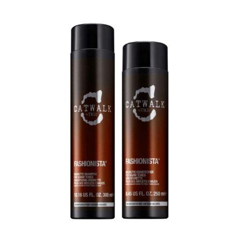 Tigi Catwalk Fashionista Brunette kit shampoo 300ml conditioner 250ml - Para tonos cálidos