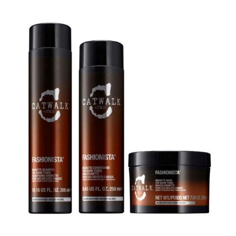 Tigi Catwalk Fashionista Brunette kit shampoo 300ml conditioner 250ml mask 200gr - Para tonos cálidos