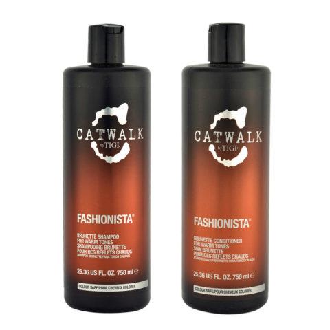 Tigi Catwalk Fashionista Brunette kit shampoo 750ml conditioner 750ml - Para tonos cálidos