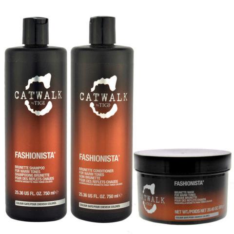 Tigi Catwalk Fashionista Brunette kit shampoo 750ml conditioner 750ml mask 580gr - para tonos cálidos