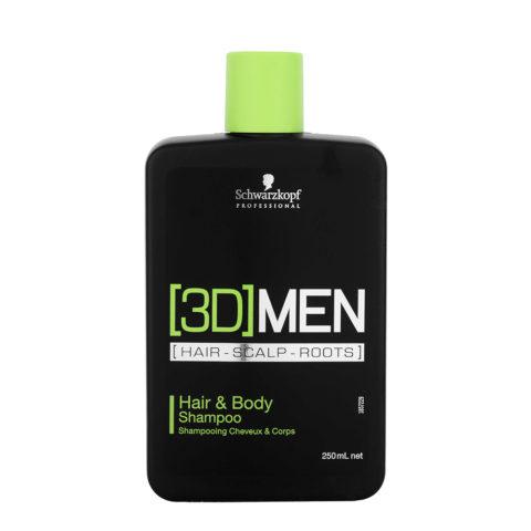 Schwarzkopf [3D]men Care Hair&Body Shampoo 250ml - Champú ducha para cabello y cuerpo