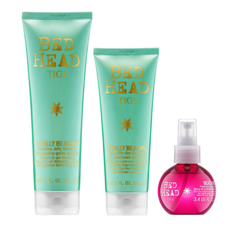 Tigi Bed Head Totally Beachin' Kit Champú 250ml Acondicionador 200ml Proteccion Spray 100ml