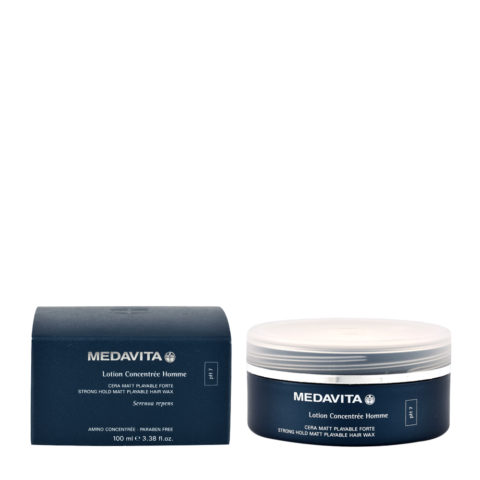 Medavita Cute Lotion concentree homme Strong hold matt playable hair wax pH 7  100ml - cera mate modelable fuerte