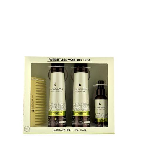 Macadamia Weightless moisture Trio: Champú 300ml Acondicionador 300ml Mist 100ml  Peine