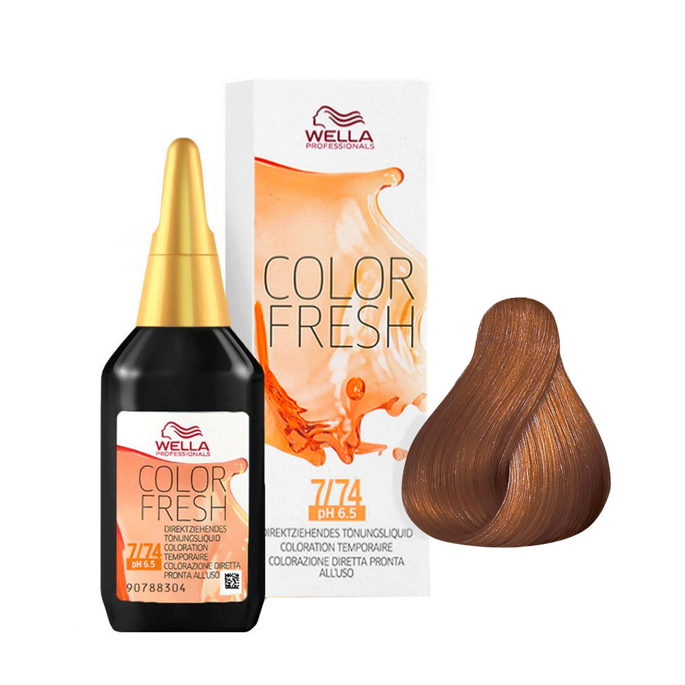 7/74 Rubio medio marron cobrizo Wella Color fresh 75ml