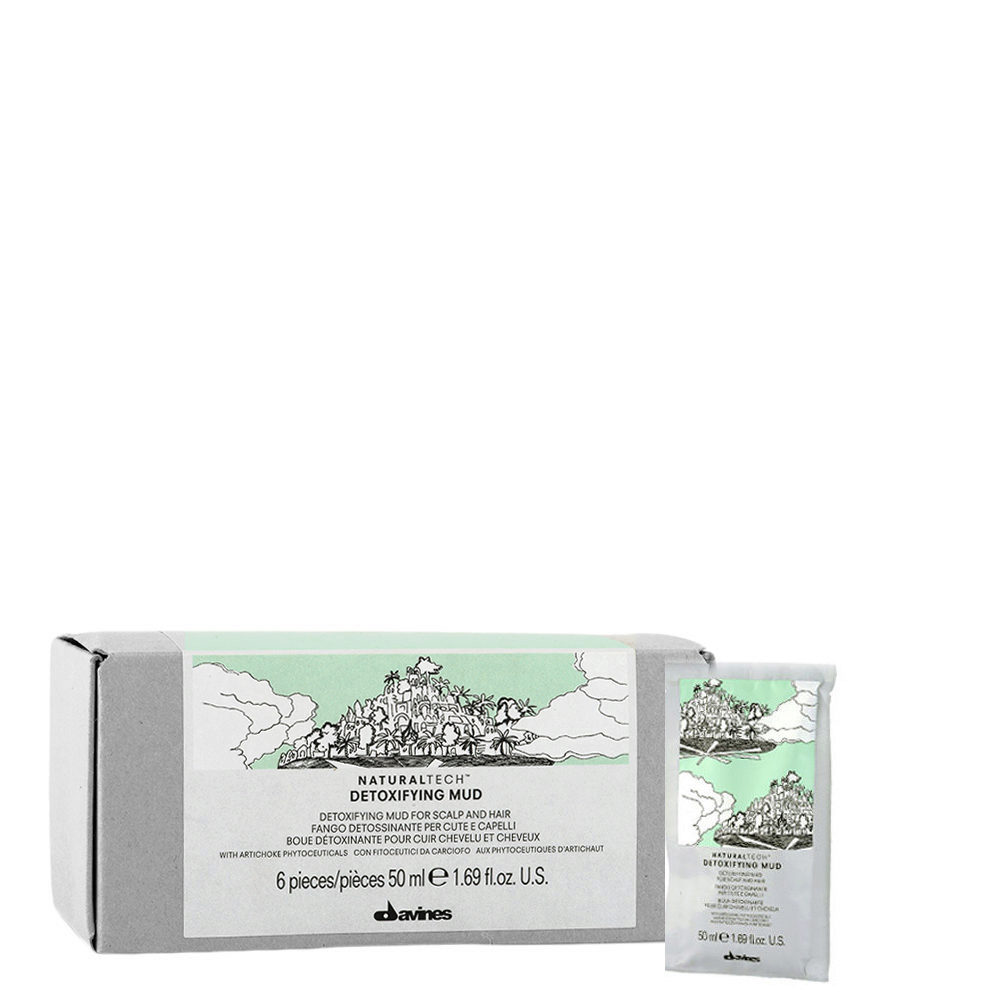 Davines Naturaltech Detoxifying Mud 6x50ml - Fango purificador anti-sebo