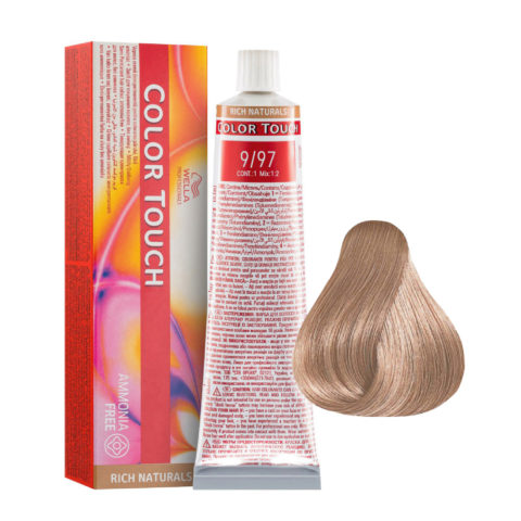 9/97 Rubio muy Claro Cendre Wella Color Touch Rich Naturals sin amoníaco 60ml