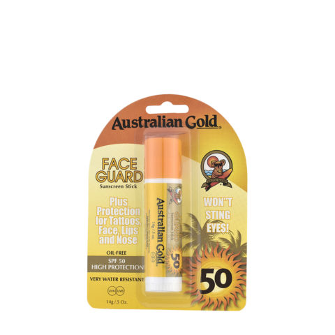 Australian Gold Protector Face Guard SPF50 14gr Stick para Rostro, Labios, Nariz y Tatuajes