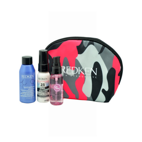 Redken Travel Kit Extreme Anti-Snap 50ml  One United Spray 30ml  Diamond Oil Glow dry oil 30ml Regalo cosmetiquera