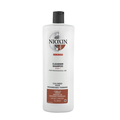 Nioxin System4 Cleanser Shampoo 1000ml - cabello teñido - pérdida de densidad avanzada