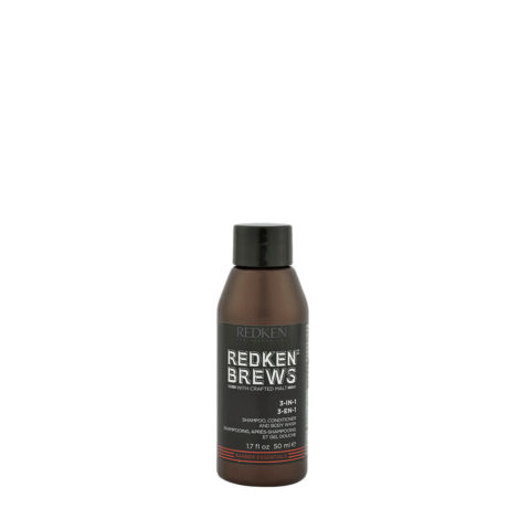 Redken Brews Man 3-IN-1 Shampoo, Conditioner e Bodywash 50ml Champú, Acondicionador y espuma de baño