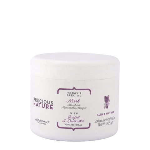 Alfaparf Precious Nature Mask With Grape & Lavender Para Cabello Rizado & Ondulado 500ml - Mascarilla