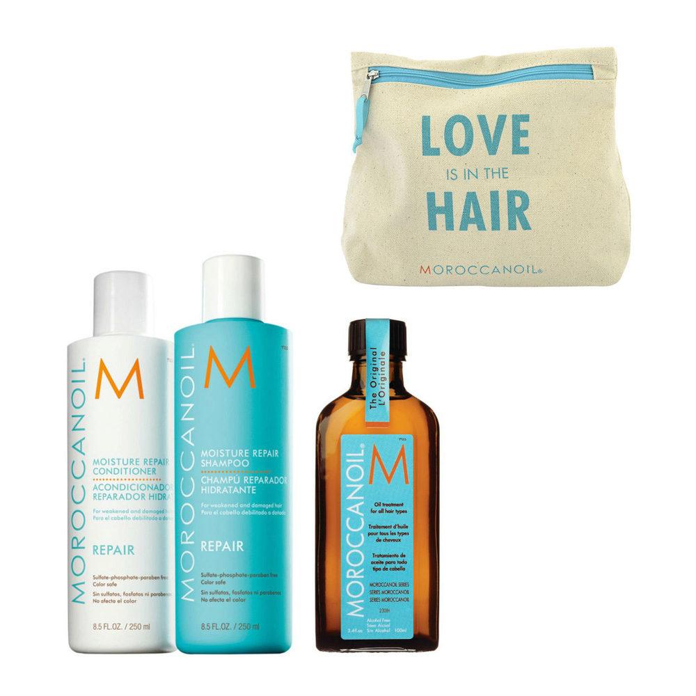 Moroccanoil Kit8 Moisture Repair Shampoo 250ml conditioner 250ml Oil Treatment 100ml  Regalo cosmetiquera