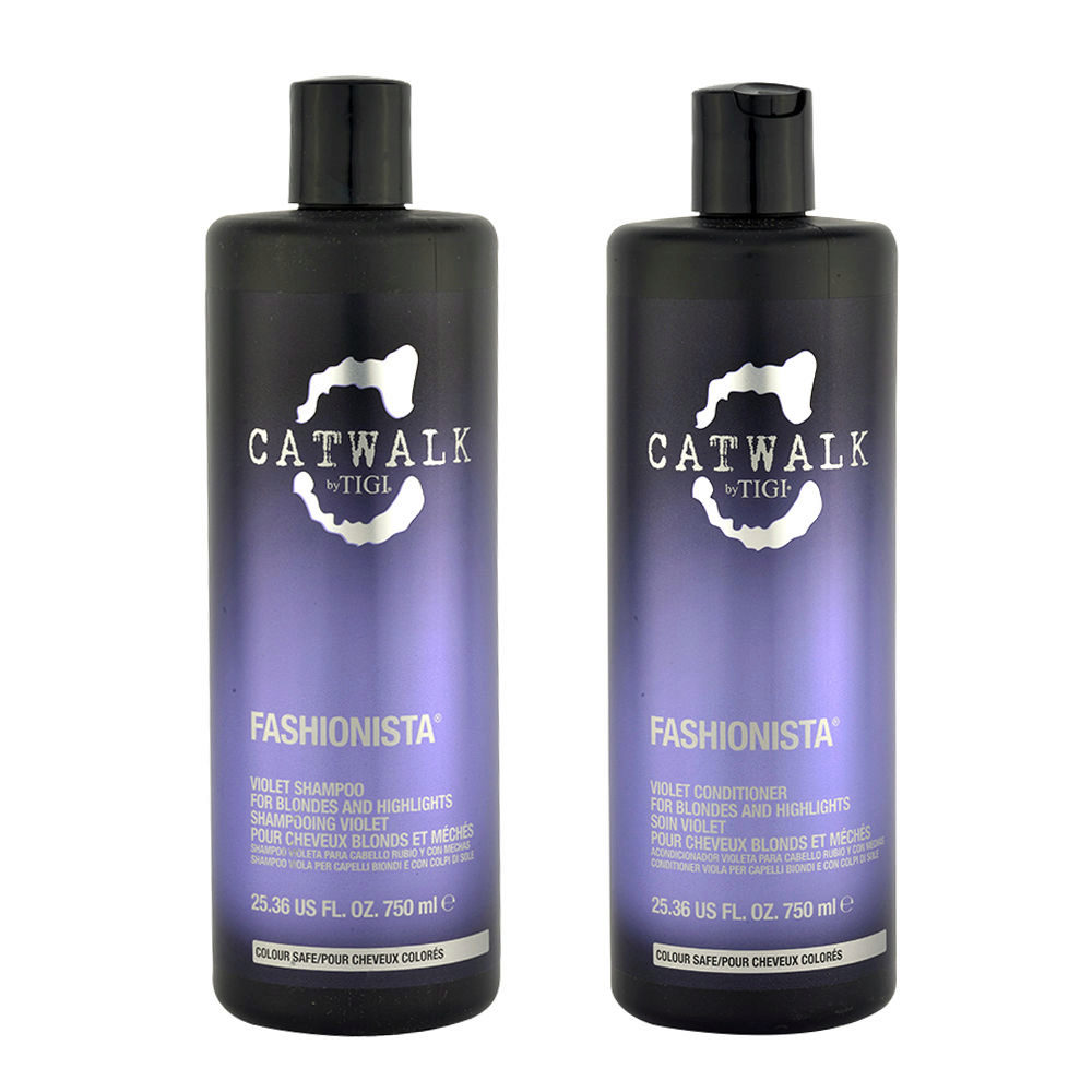 Tigi Catwalk Fashionista Violet kit shampoo 750ml Acondicionador 750ml Para Cabello Rubio