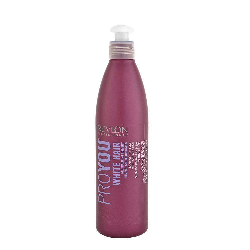 Revlon Pro You White Hair Shampoo 350ml - Anti-amarillo para cabello blanco y gris