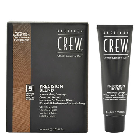 American Crew Classic Precision Blend 5-6 castaño medio ceniza 3x40ml - colorear para hombres