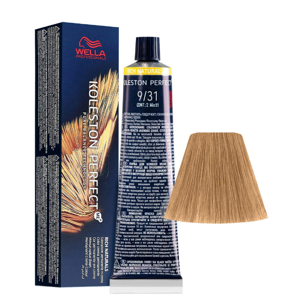 9/31 Rubio Muy Claro Dorado Ceniza Wella Koleston perfect Me+ Rich Naturals 60ml