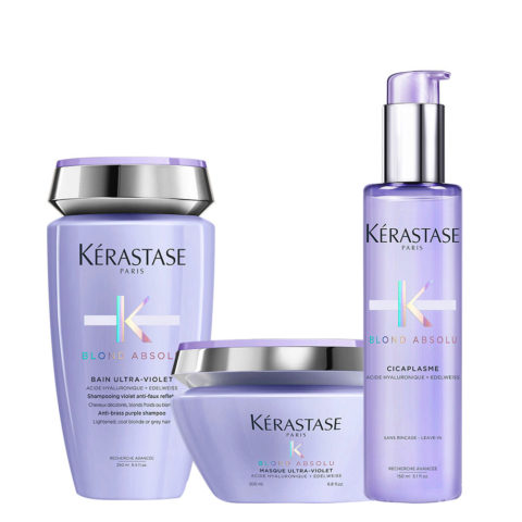 Kerastase Blond absolu Kit Champú anti-amarillo 250ml Mascara 200ml y Suero 150ml  Cabellos ,Plateados y  Blancos