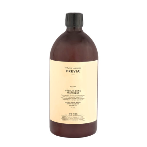 Previa Keeping Organic Green walnut colour shine Treatment 1000ml - mascarilla pelo colorado