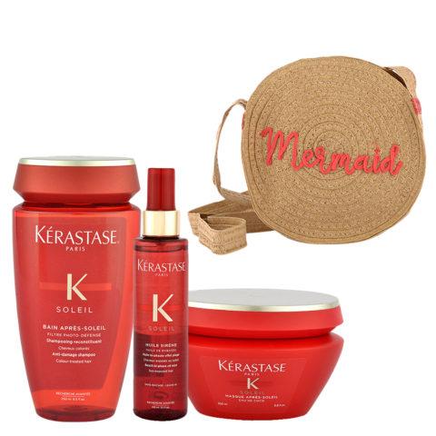 Kerastase Soleil Kit Shampoo 250ml Huile Sirene 150ml Masque 200ml - bolso en regalo