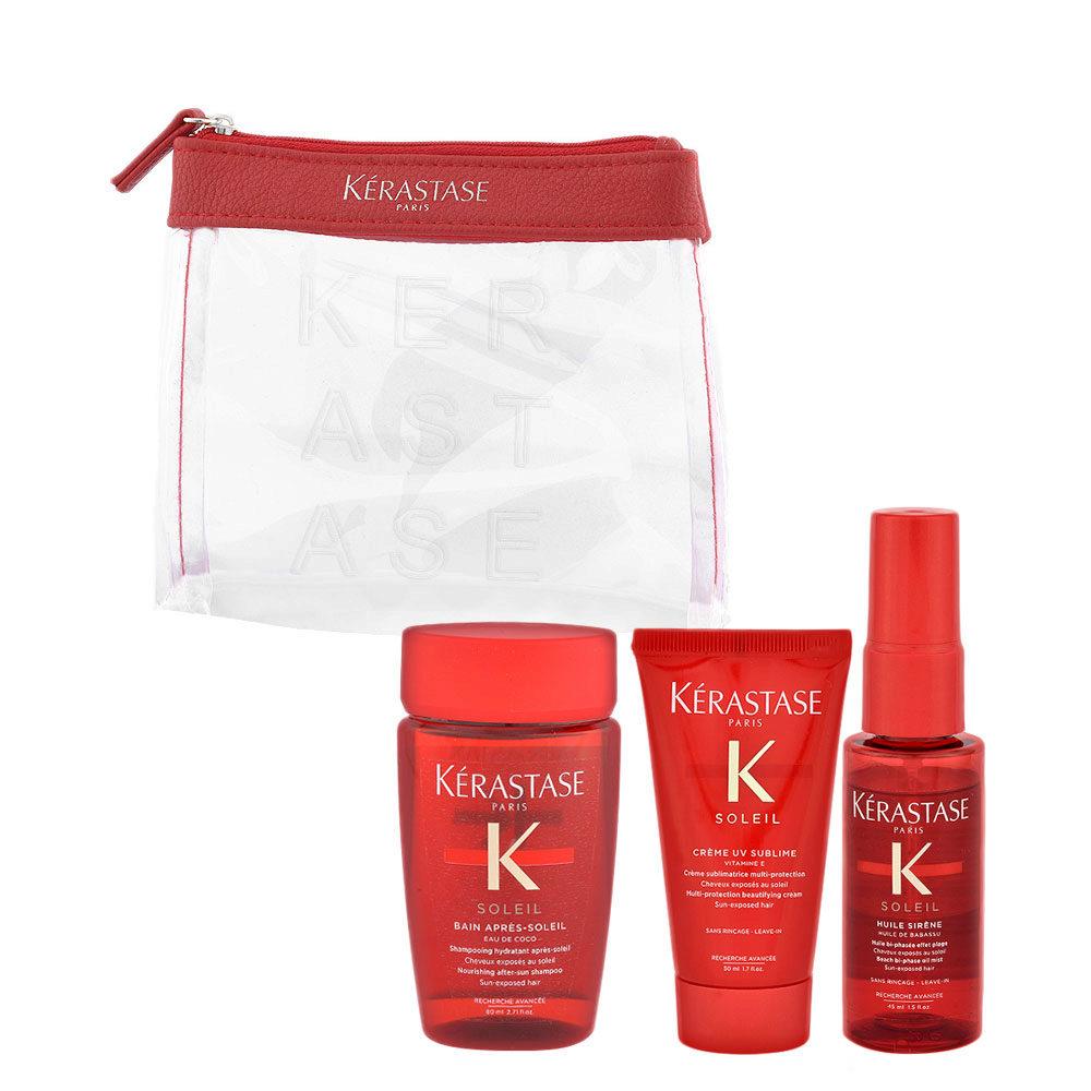 Kerastase Soleil Kit Shampoo 80ml Creme UV Sublime 50ml Huile Sirene 45ml - bolso en regalo