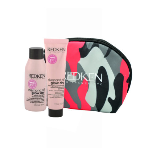 Redken Diamond Oil Glow Dry Gloss Shampoo 50ml Detangling Conditioner 30ml bolsa en regalo