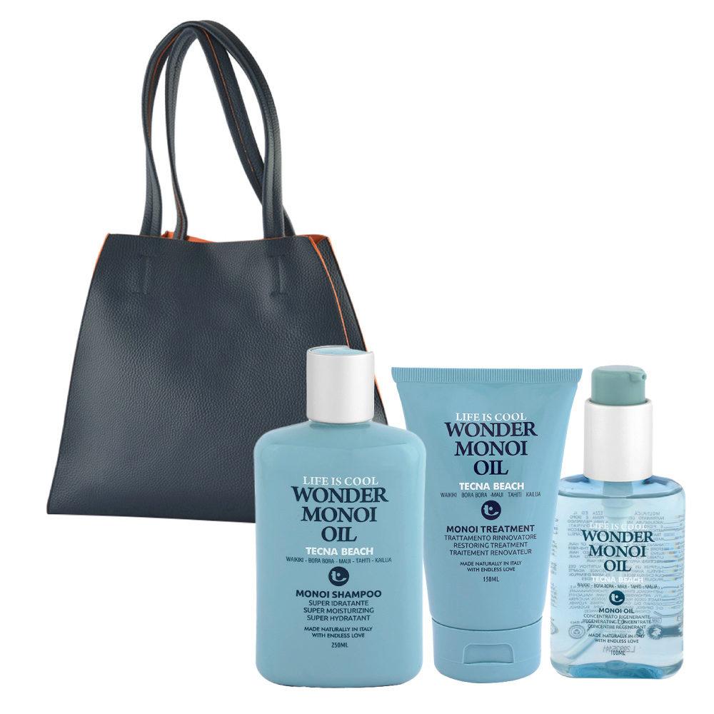 Tecna Beach Wonder Monoi kit Shampoo 250ml Treatment 150ml Oil 100ml free beach bag