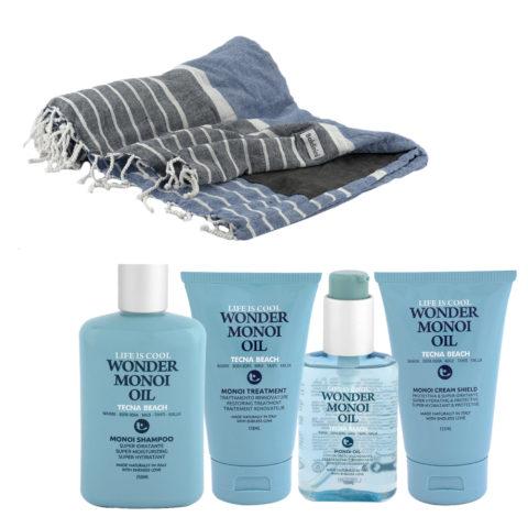 Tecna Beach Wonder Monoi kit Shampoo 250ml Treatment 150ml Oil 100ml Cream 200ml + toalla de playa gratuita Baldinini