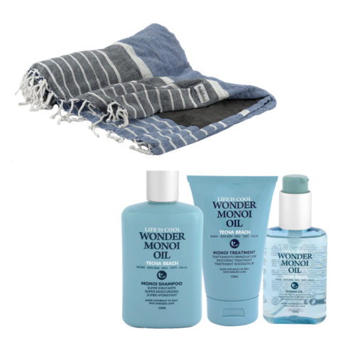 Tecna Beach Wonder Monoi kit Shampoo 250ml Treatment 150ml Oil 100ml + toalla de playa gratuita Baldinini