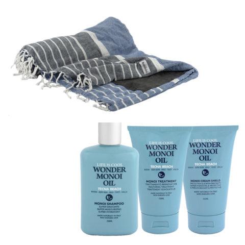 Tecna Beach Wonder Monoi kit Shampoo 250ml Treatment 150ml Cream 125ml + toalla de playa gratuita Baldinini