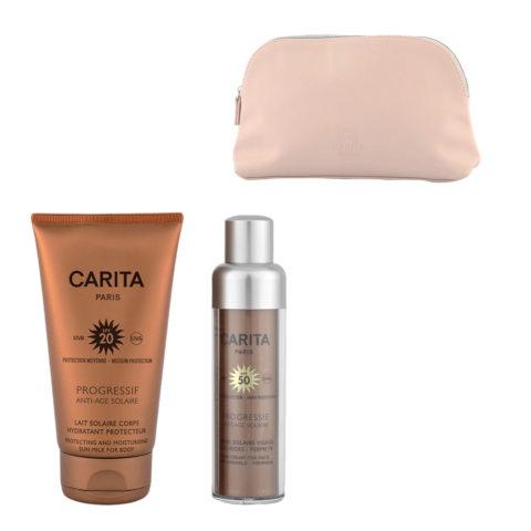 Carita Progressif Anti-Age Solaire Kit Crème Visage Anti-rides 50ml Lait Corps Protecteur 150ml - bolsa en regalo