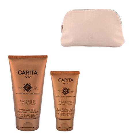 Carita Progressif Anti-Age Solaire Hydratant Protecteur Kit Crème Visage 50ml Lait Corps 150ml - bolsa en regalo